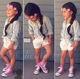 How to wear: light blue denim long sleeve shirt, white shorts, hot pink sneakers