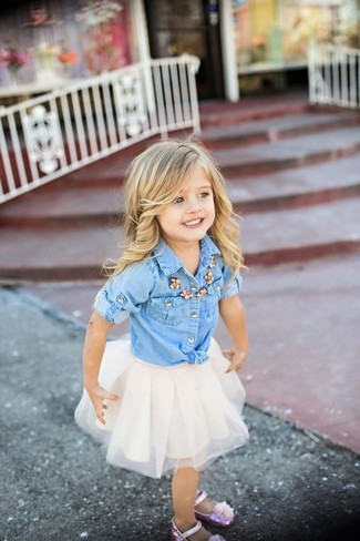 How to wear: light blue denim long sleeve shirt, white tulle skirt, pink ballet flats