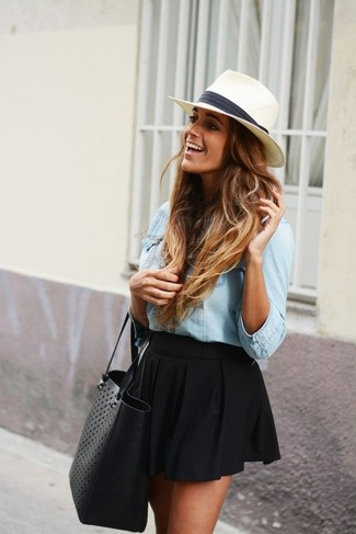 A baby blue denim shirt and a black skater skirt is a nice combination to impress your crush on a date night. This is a goofproof option for a stylish winter-to-spring transition look.
