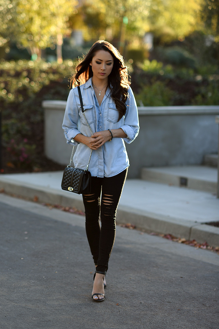Denim shirt and jeans women images for Skinny jeans with shirt