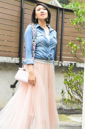 Women's Light Blue Denim Shirt, Pink Tulle Maxi Skirt, Pink Leather Crossbody Bag