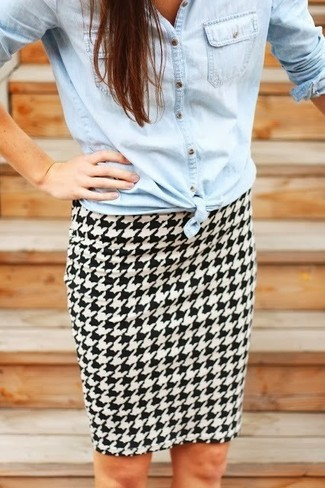 How to wear: light blue denim shirt, white and black houndstooth pencil skirt