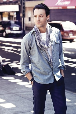 How to wear: light blue denim shirt, white crew-neck t-shirt, navy chinos, grey houndstooth scarf