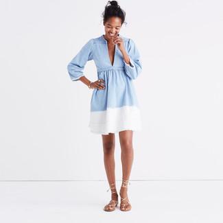 How to wear: light blue denim skater dress, beige leather gladiator sandals