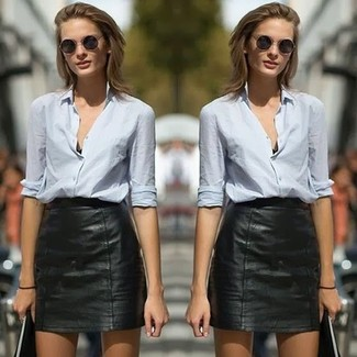 To create an outfit for lunch with friends at the weekend consider wearing a light blue button-up shirt and a black leather mini skirt. As the weather starts to get warmer, it's time to shed those bulky winter gear and opt for an outfit that's lighter, like this one here.