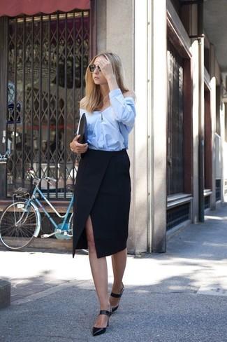 29a79924d Cushnie et Ochs Beaded Trim High Slit Pencil Skirt Black, $925 ...