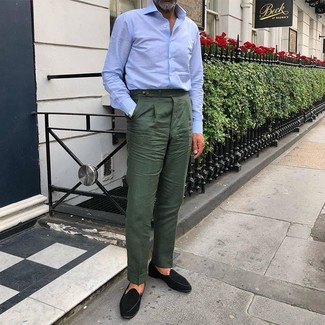 How to Wear Dark Green Dress Pants For Men: This is hard proof that a light blue dress shirt and dark green dress pants are amazing when paired together in a polished getup for today's guy. Complete this look with a pair of black suede loafers to keep the outfit fresh.