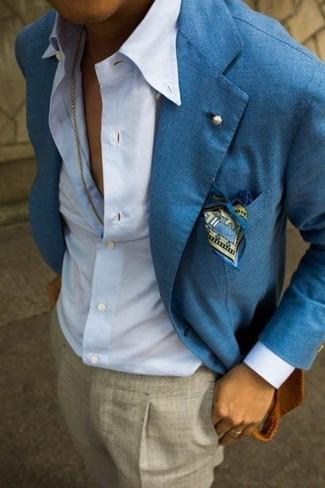 Luxury  Blue Denim Shirt  Silver Statement Bracelet  Grey Snake Leather