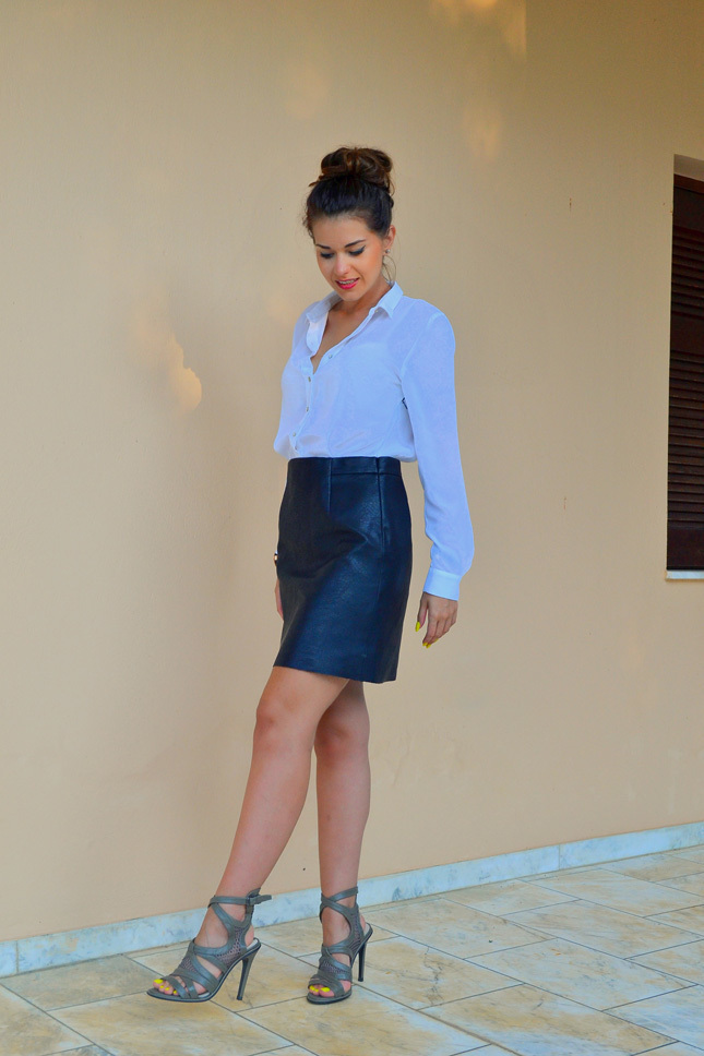Women's Light Blue Dress Shirt, Navy Leather Pencil Skirt, Dark ...