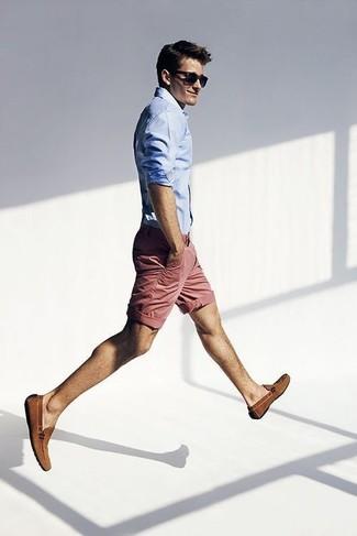 Men's Light Blue Dress Shirt, Pink Shorts, Brown Suede Loafers, Navy Sunglasses