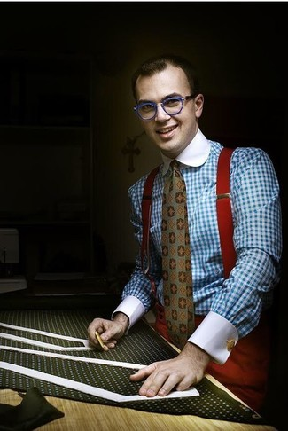 How to wear: light blue gingham dress shirt, red dress pants, olive print tie, red suspenders