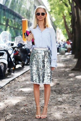 How to wear: light blue dress shirt, silver sequin pencil skirt, beige leather heeled sandals
