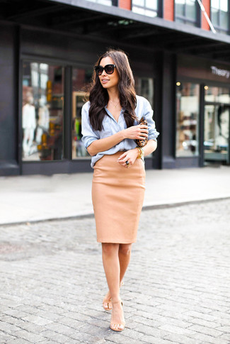 How to Wear a Tan Leather Pencil Skirt (3 looks) | Women's Fashion