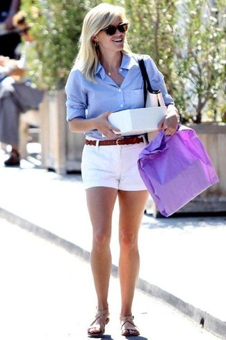 Reese Witherspoon wearing Light Blue Dress Shirt, White Shorts, Beige Leather Flat Sandals, Dark Brown Leather Belt