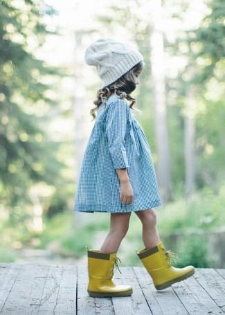 How to wear: light blue dress, yellow rain boots, white beanie