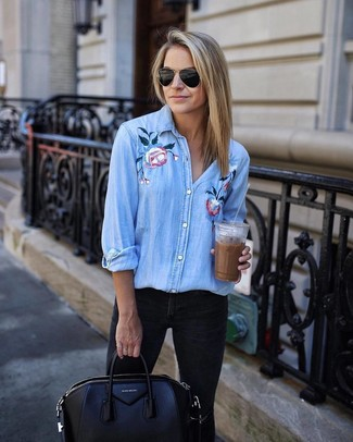 Bow Embellished Embroidered Striped Cotton Shirt Sky Blue