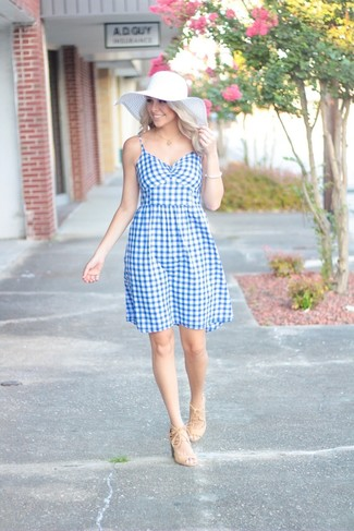 How to wear: light blue gingham fit and flare dress, beige suede heeled sandals, white straw hat, white bracelet