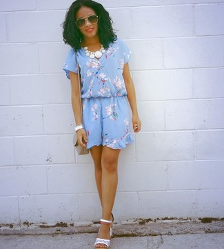How to wear: light blue floral casual dress, white leather heeled sandals, grey crossbody bag