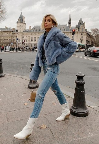 How to wear: light blue fur jacket, charcoal cowl-neck sweater, light blue ripped jeans, white leather cowboy boots