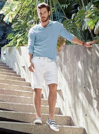 Men's Light Blue Hoodie, White Shorts, White Horizontal Striped Slip-on Sneakers