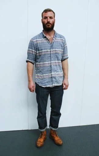 How to Wear Brown Leather Brogue Boots After 40: Consider wearing a light blue horizontal striped short sleeve shirt and navy jeans to create a cool and relaxed ensemble. And if you wish to immediately polish off your outfit with a pair of shoes, complement this look with brown leather brogue boots.