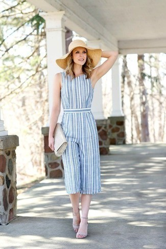 How to wear: light blue vertical striped jumpsuit, grey leather heeled sandals, grey leather clutch, beige straw hat