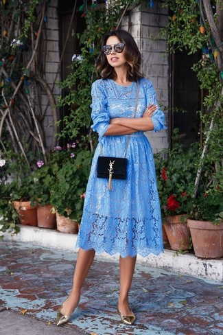 How to wear: light blue lace midi dress, silver leather ballerina shoes, black suede crossbody bag