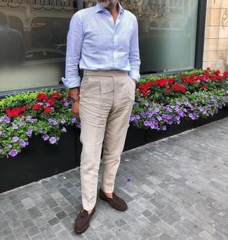 How to wear: light blue long sleeve shirt, beige linen dress pants, dark brown suede tassel loafers, tan leather watch