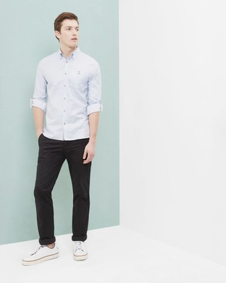How to wear: light blue long sleeve shirt, black chinos, white canvas low top sneakers
