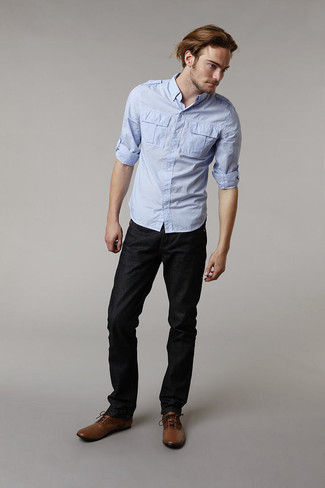 Blue Long Sleeve Solid Stretch Button Down Shirt