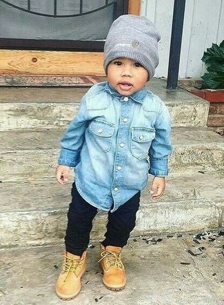 How to Wear Black Jeans For Boys: Dress your little angel in a light blue denim long sleeve shirt and black jeans for an easy to wear, everyday look. Finish off this getup with tan boots.