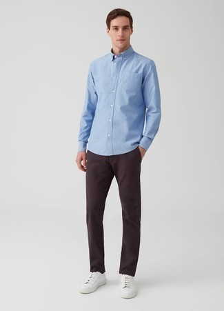 How to Wear a Light Blue Long Sleeve Shirt For Men: Show off your credentials in menswear styling in this off-duty pairing of a light blue long sleeve shirt and dark purple chinos. Rev up this whole ensemble with white leather low top sneakers.