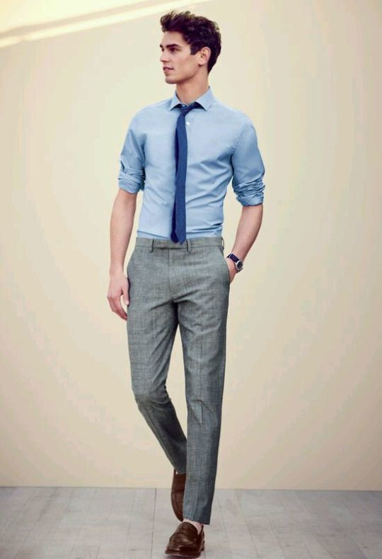 grey suit light blue shirt and brown shoes style guru
