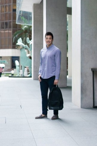How to Wear a Bag For Men: This combo of a light blue check long sleeve shirt and a bag provides comfort and functionality and helps keep it low profile yet contemporary. You know how to play it up: grey suede loafers.