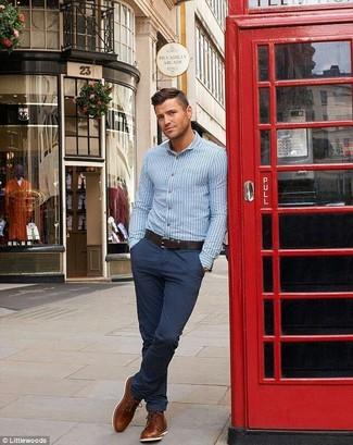 Men's Light Blue Vertical Striped Long Sleeve Shirt, Navy Chinos, Tobacco Leather Desert Boots, Dark Brown Leather Belt