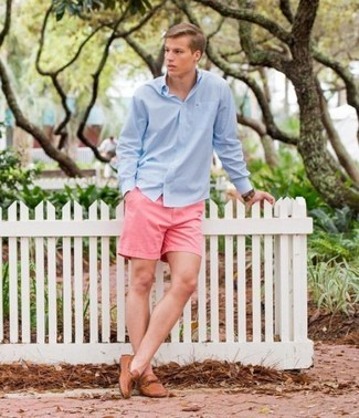 How to wear: light blue long sleeve shirt, pink shorts, tan leather driving shoes, brown leather watch