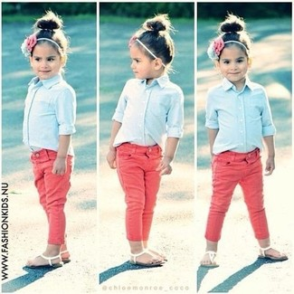 How to wear: light blue long sleeve shirt, red jeans, white sandals