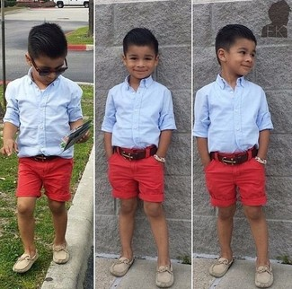 How to wear: light blue long sleeve shirt, red shorts, beige loafers