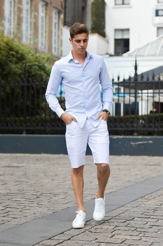 Men's Light Blue Long Sleeve Shirt, White Shorts, White Leather Low Top Sneakers