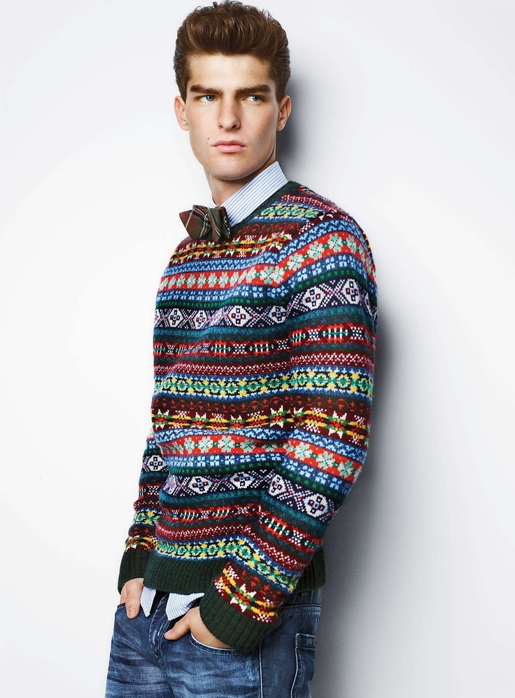 Light blue longsleeve shirt dark brown bow tie dark green for Crew neck sweater with collared shirt