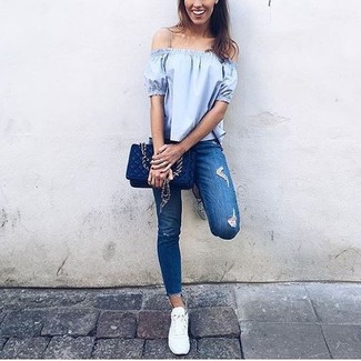 How to wear: light blue off shoulder top, blue ripped skinny jeans, white low top sneakers, navy quilted leather crossbody bag