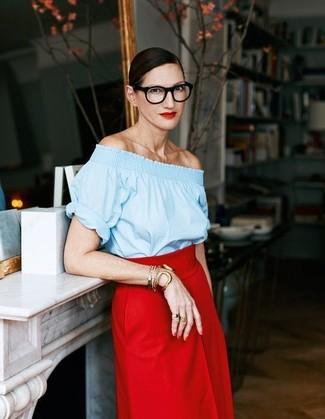 How to wear: light blue off shoulder top, red midi skirt, gold bracelet