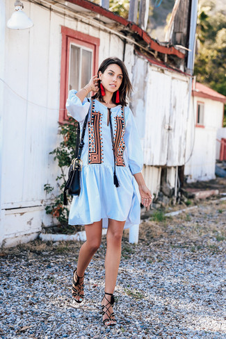 How to wear: light blue embroidered peasant dress, black suede heeled sandals, black leather crossbody bag, red earrings