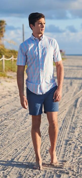 How to wear: light blue plaid short sleeve shirt, navy shorts