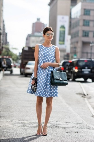 How to wear: light blue polka dot casual dress, white leather heeled sandals, black leather satchel bag