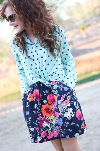 Women's Light Blue Polka Dot Dress Shirt, Navy Floral Skater Skirt, Dark Brown Leopard Sunglasses
