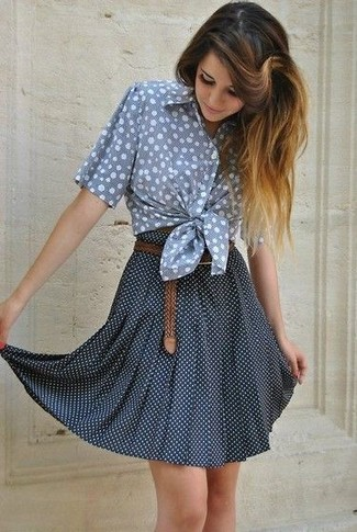 4646072cd3 How to wear: light blue polka dot short sleeve button down shirt, navy and