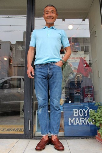 How to wear: light blue polo, blue jeans, brown leather loafers, dark green watch