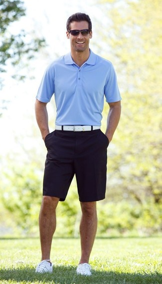 How to wear: light blue polo, navy shorts, white plimsolls, white leather belt
