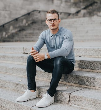 How to wear: light blue polo neck sweater, charcoal skinny jeans, white low top sneakers, silver watch